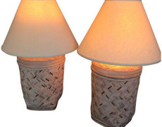 Rattan Basket Lamps With Brass Accents – A Pair