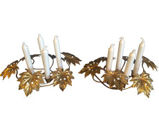 Mid-Century Brass Leaf Candle Holders – A Pair