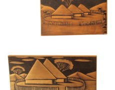 African Hut Wood Blocks – Pair