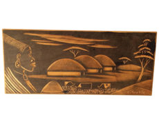 African Landscape Woodcut Plate