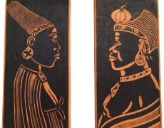 African Warrior Woodcut Plates – Pair
