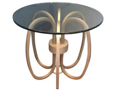 Mid-Century Chrome Ring & Glass Side Table