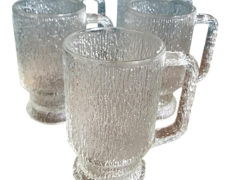 Vintage Textured Glass Mugs – Set of 5