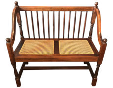 Traditional Wood & Cane Bench