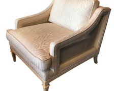 Upholstered & Cane Mid-Century Armchair