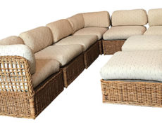Vintage Rattan Sectional Sofa Set