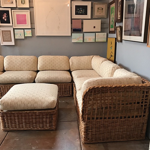 vintage rattan sectional sofa set good eye gallery. Black Bedroom Furniture Sets. Home Design Ideas