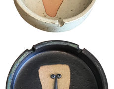Japanese Stoneware Face Ashtrays – A Pair